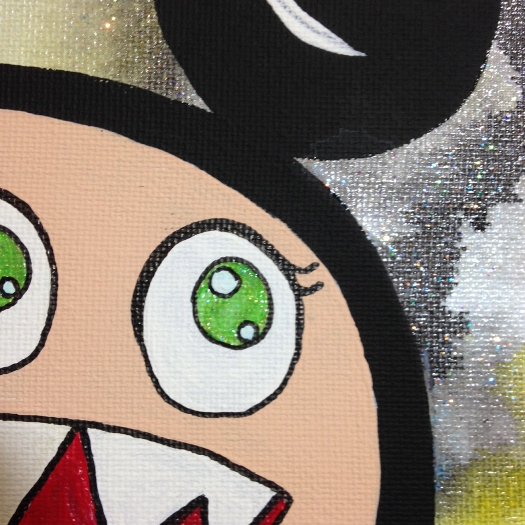 Close-Up 2 Glitter Time- Tribute to Takashi Murakami Linda Cleary 2014 Acrylic on Canvas