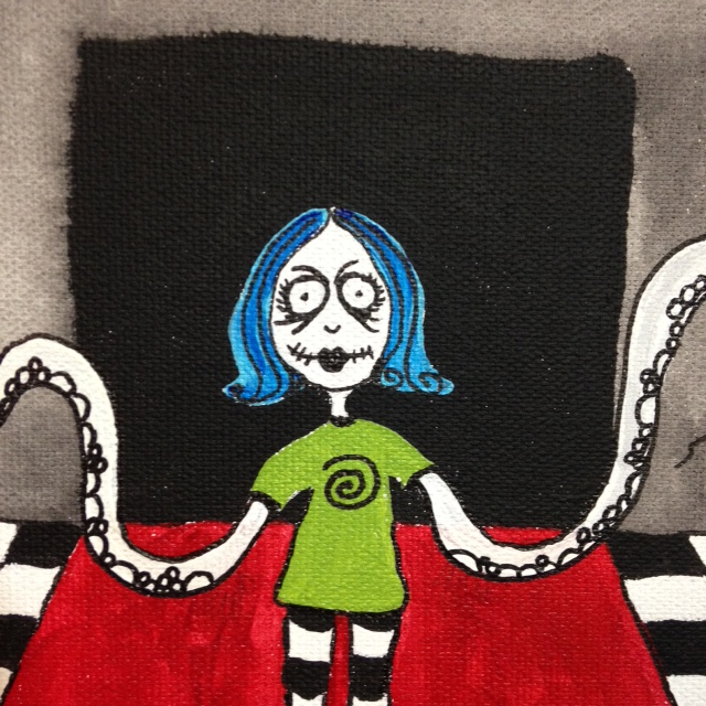 Close-Up 1 Tentacle Girl- Tribute to Tim Burton Linda Cleary 2014 Acrylic on Canvas