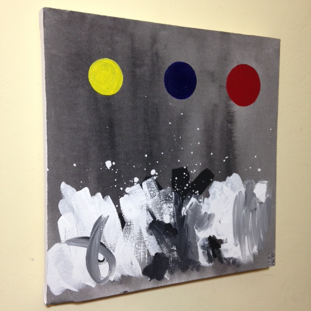 Side-View Primary Disks- Tribute to Adolph Gottlieb Linda Cleary 2014 Acrylic on Canvas