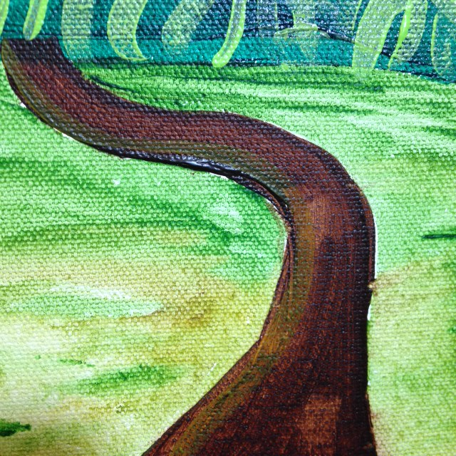 Close-Up 4 The Hills in my picture in my mind- Tribute to Joseph Yoakum Linda Cleary 2014 Acrylic on Canvas