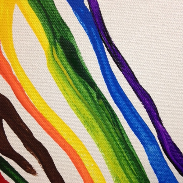 Close-Up 1 Gamma Rainbow- Tribute to Morris Louis Linda Cleary 2014 Acrylic on Canvas