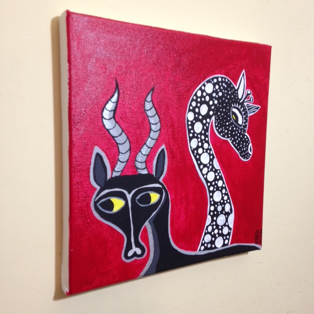 Side-View Antelope and Giraffe- Tribute to Edward Tingatinga Linda Cleary 2014 Acrylic on Canvas
