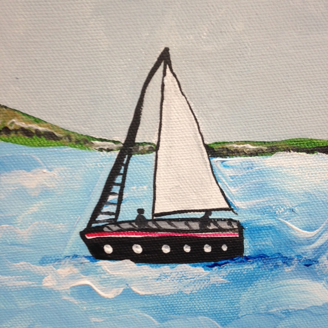 Close-Up 1 Sailing by the lighthouse- Tribute to Alfred Wallis Linda Cleary 2014 Acrylic on Canvas