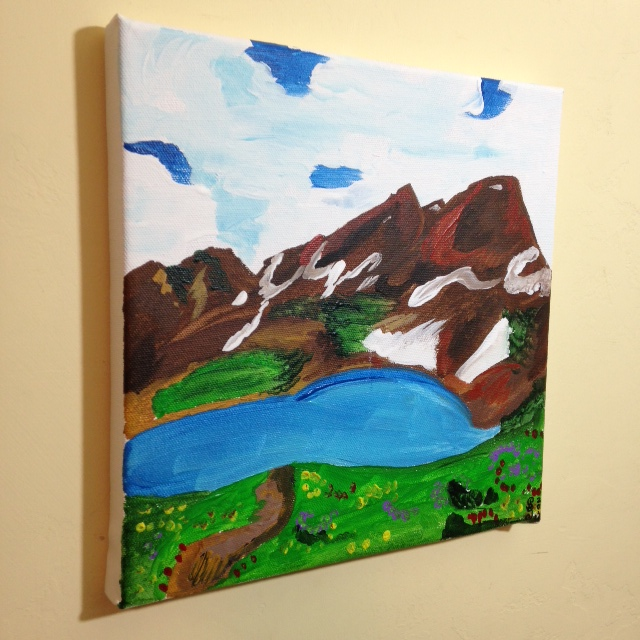 SIde-View Mountain Landscape- Tribute to Othon Friesz Linda Cleary 2014 Acrylic on Canvas