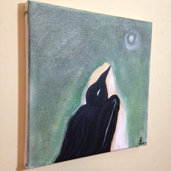 Side-View Moon Raven- Tribute to Morris Graves Linda Cleary 2014 Acrylic on Canvas