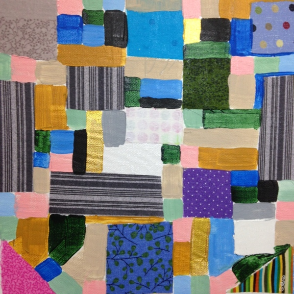 Collage 1- Tribute to Anne Ryan Linda Cleary 2014 Fabric, glue and Acrylic on Canvas