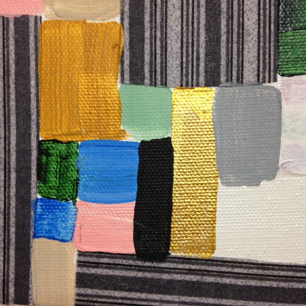 Close-Up 2 Collage 1- Tribute to Anne Ryan Linda Cleary 2014 Fabric, glue and Acrylic on Canvas