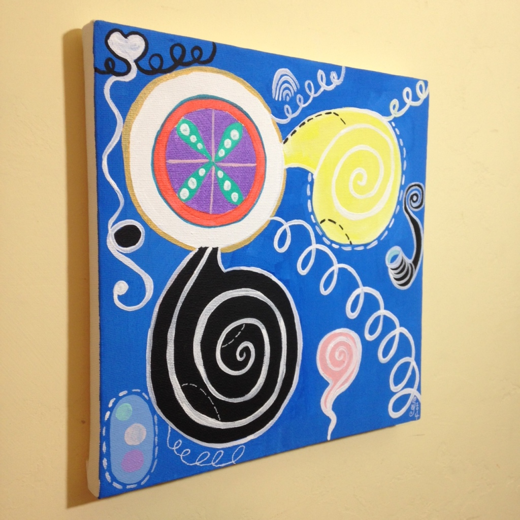 Side-View Anxioushood- Tribute to Hilma af Klint Linda Cleary 2014 Acrylic on Canvas