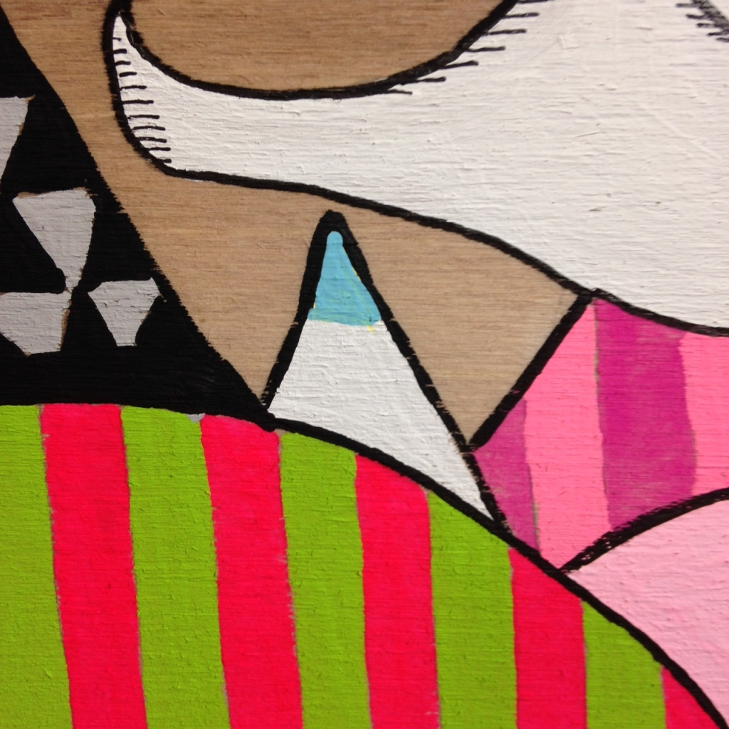Close-Up 3 Ghost Dude- Tribute to Buff Monster Linda Cleary 2014 Acrylic on Wood Panel