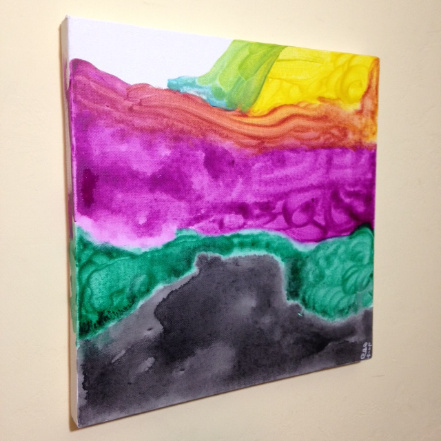 Side-View Noon Colors- Tribute to Helen Frankenthaler Linda Cleary 2014 Acrylic on Canvas
