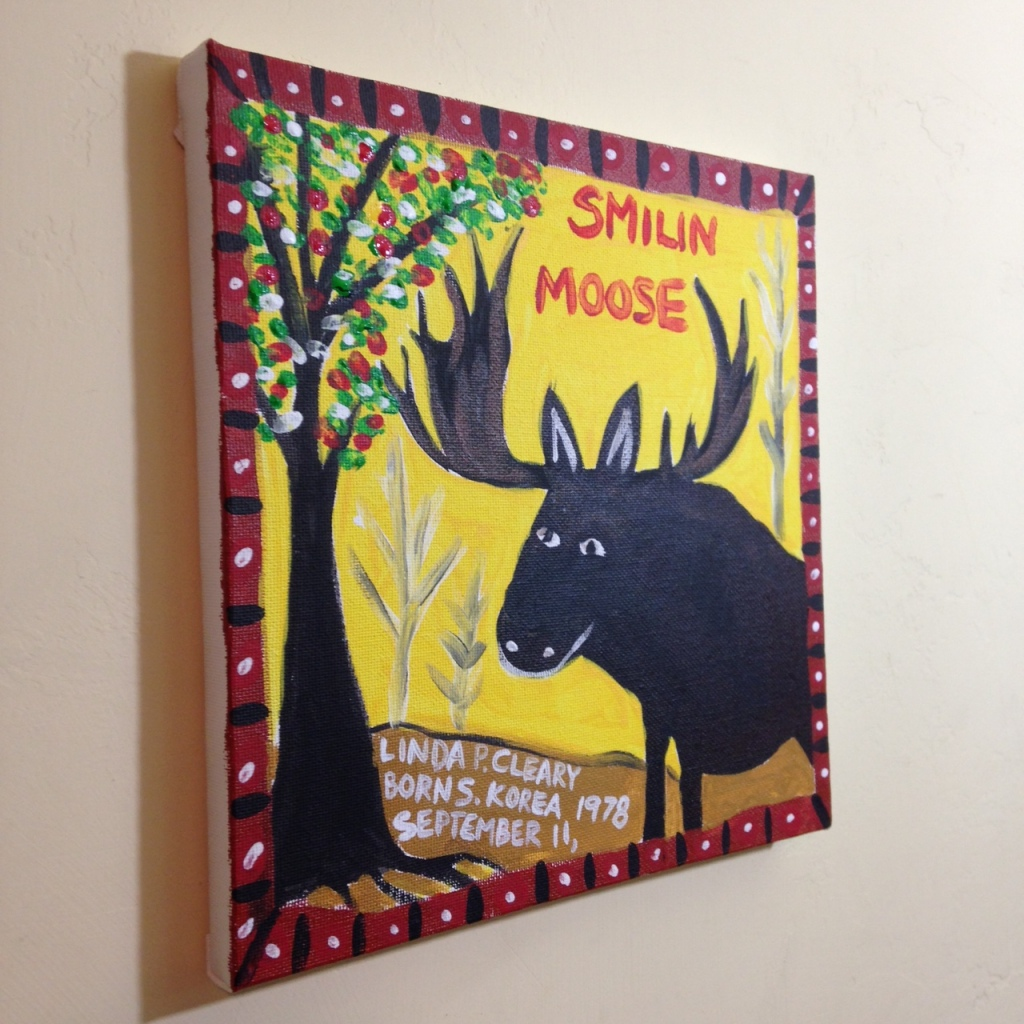 Side-View Smilin Moose- Tribute to William Hawkins Linda Cleary 2014 Acrylic on Canvas
