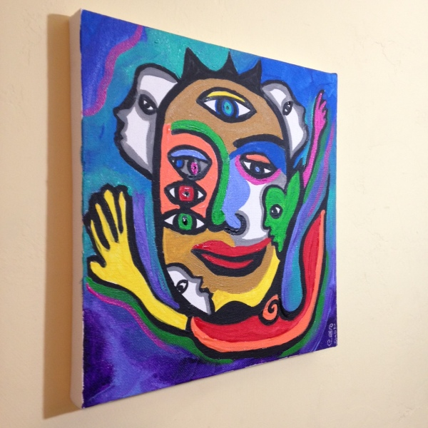Side-View The Eyes See All- Tribute to Raquel Forner Linda Cleary 2014 Acrylic on Canvas