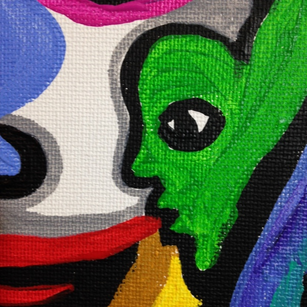 Close-Up 3 The Eyes See All- Tribute to Raquel Forner Linda Cleary 2014 Acrylic on Canvas