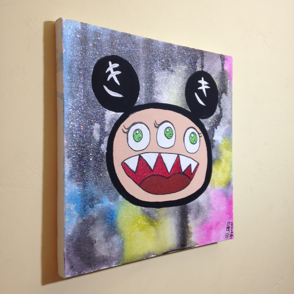 Side-View Glitter Time- Tribute to Takashi Murakami Linda Cleary 2014 Acrylic on Canvas