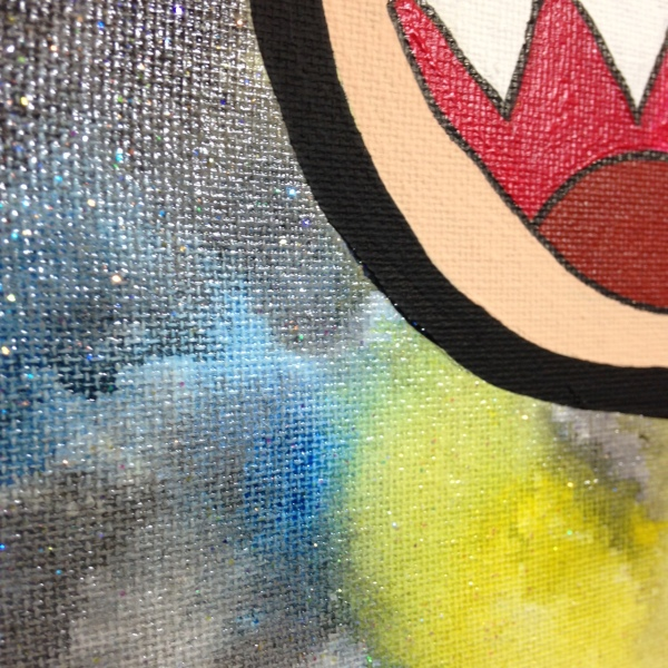 Close-Up 3 Glitter Time- Tribute to Takashi Murakami Linda Cleary 2014 Acrylic on Canvas