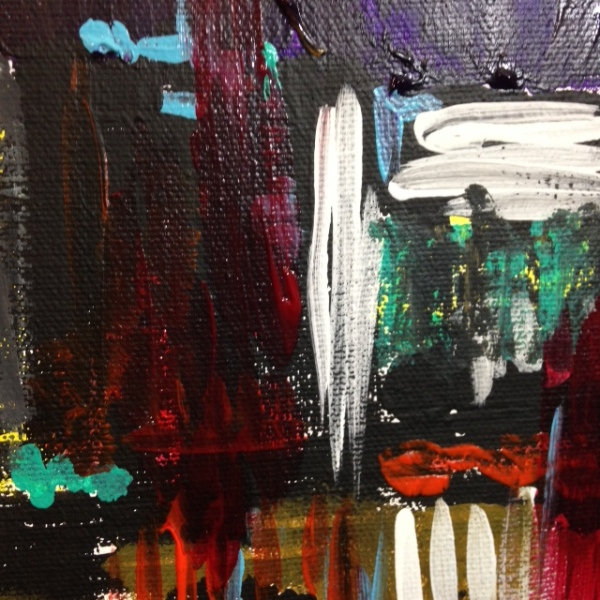Close-Up 1 City at Night- Tribute to Joan Mitchell Linda Cleary 2014 Acrylic on Canvas
