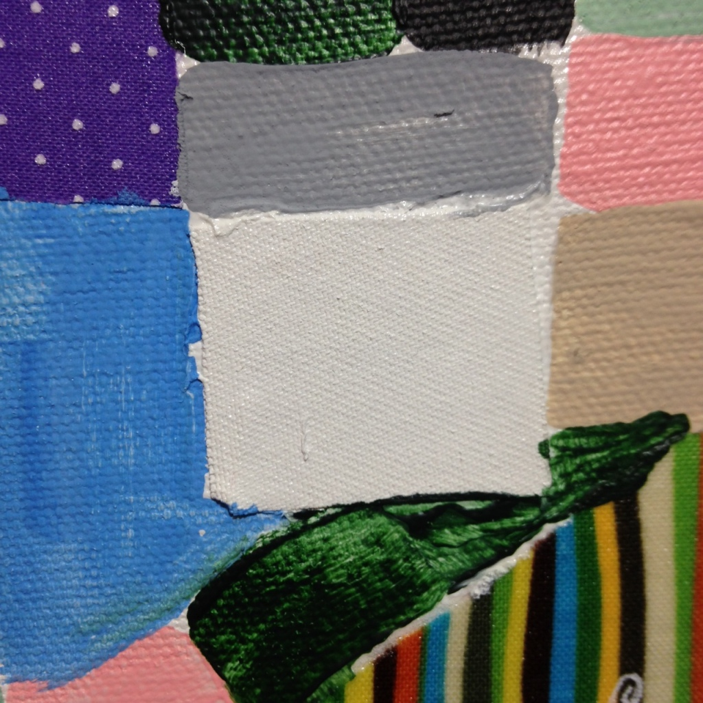 Close-Up 3 Collage 1- Tribute to Anne Ryan Linda Cleary 2014 Fabric, glue and Acrylic on Canvas