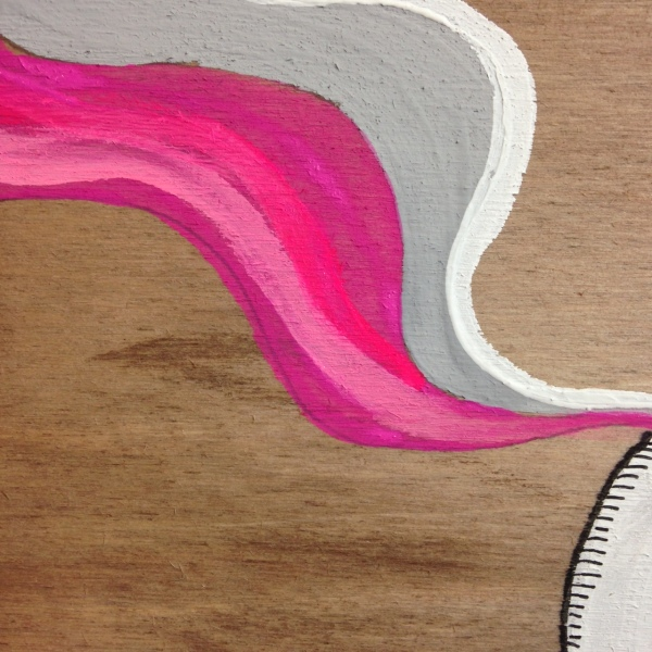 Close-Up 4 Ghost Dude- Tribute to Buff Monster Linda Cleary 2014 Acrylic on Wood Panel