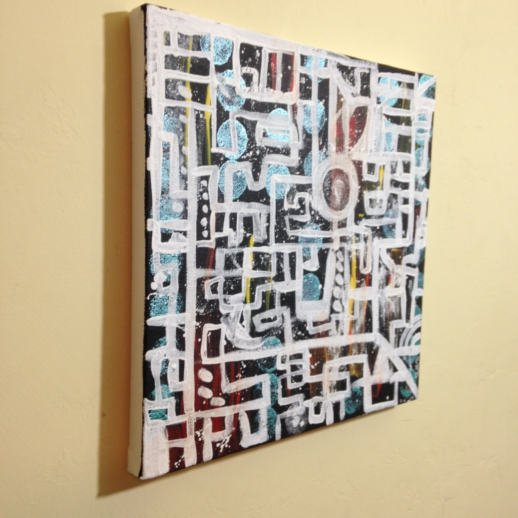 Side-View Life Maze- Tribute to Lee Krasner Linda Cleary 2014 Acrylic on Canvas