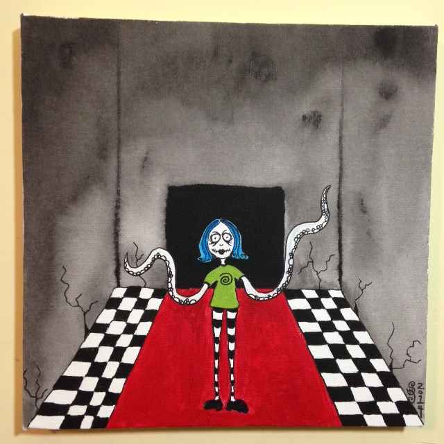 Tentacle Girl- Tribute to Tim Burton Linda Cleary 2014 Acrylic on Canvas