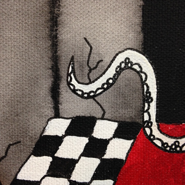 Close-Up 3 Tentacle Girl- Tribute to Tim Burton Linda Cleary 2014 Acrylic on Canvas