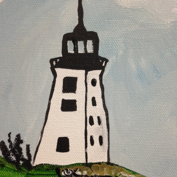 Close-Up 2 Sailing by the lighthouse- Tribute to Alfred Wallis Linda Cleary 2014 Acrylic on Canvas