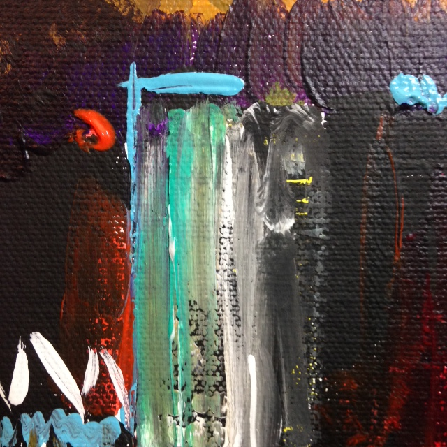 Close-Up 3 City at Night- Tribute to Joan Mitchell Linda Cleary 2014 Acrylic on Canvas