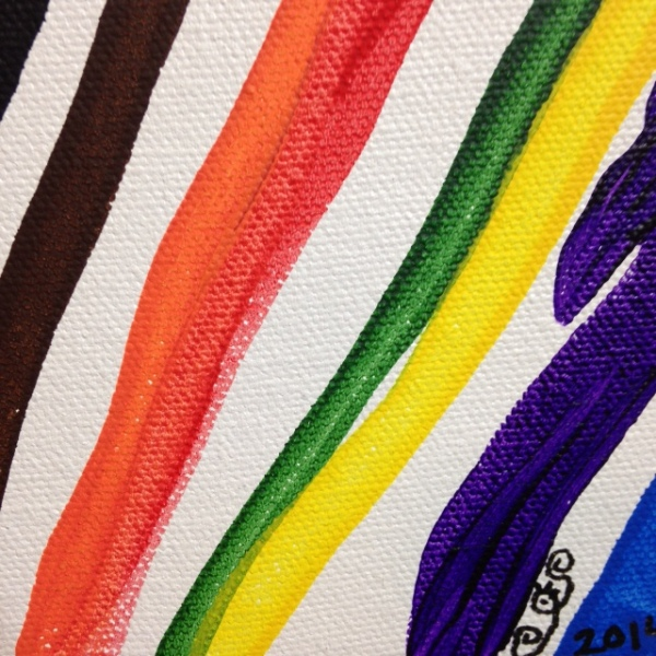 Close-Up 3 Gamma Rainbow- Tribute to Morris Louis Linda Cleary 2014 Acrylic on Canvas
