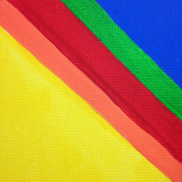 Close-Up 3 Rainbow Chevron- Tribute to Kenneth Noland Linda Cleary 2014 Acrylic on Canvas
