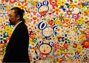 Takashi Murakami in front of his artwork.
