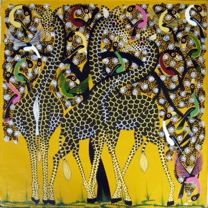 I believe this is an example of a Tingatinga painting done by a student.