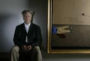 David Lynch LOS ANGELES,CA - SEPTEMBER 11,2009: Filmmaker David Lynch with one of his new paintings, photographed at Griffin Gallery in Santa Monica,  September 11, 2009.