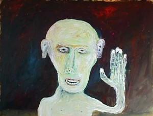 "Frank Saying Hi Acrylic on Paper, 21""x27"""