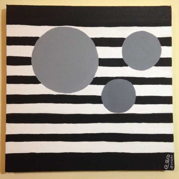 Gray Areas- Tribute to Bridget Riley Linda Cleary 2014 Acrylic on Canvas