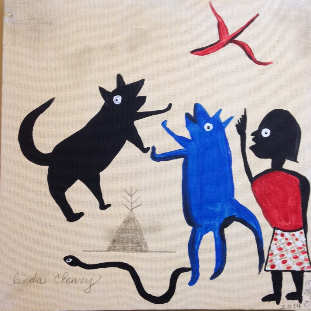 Bad Dog!- Tribute to Bill Traylor Linda Cleary 2014 Acrylic on Canvas