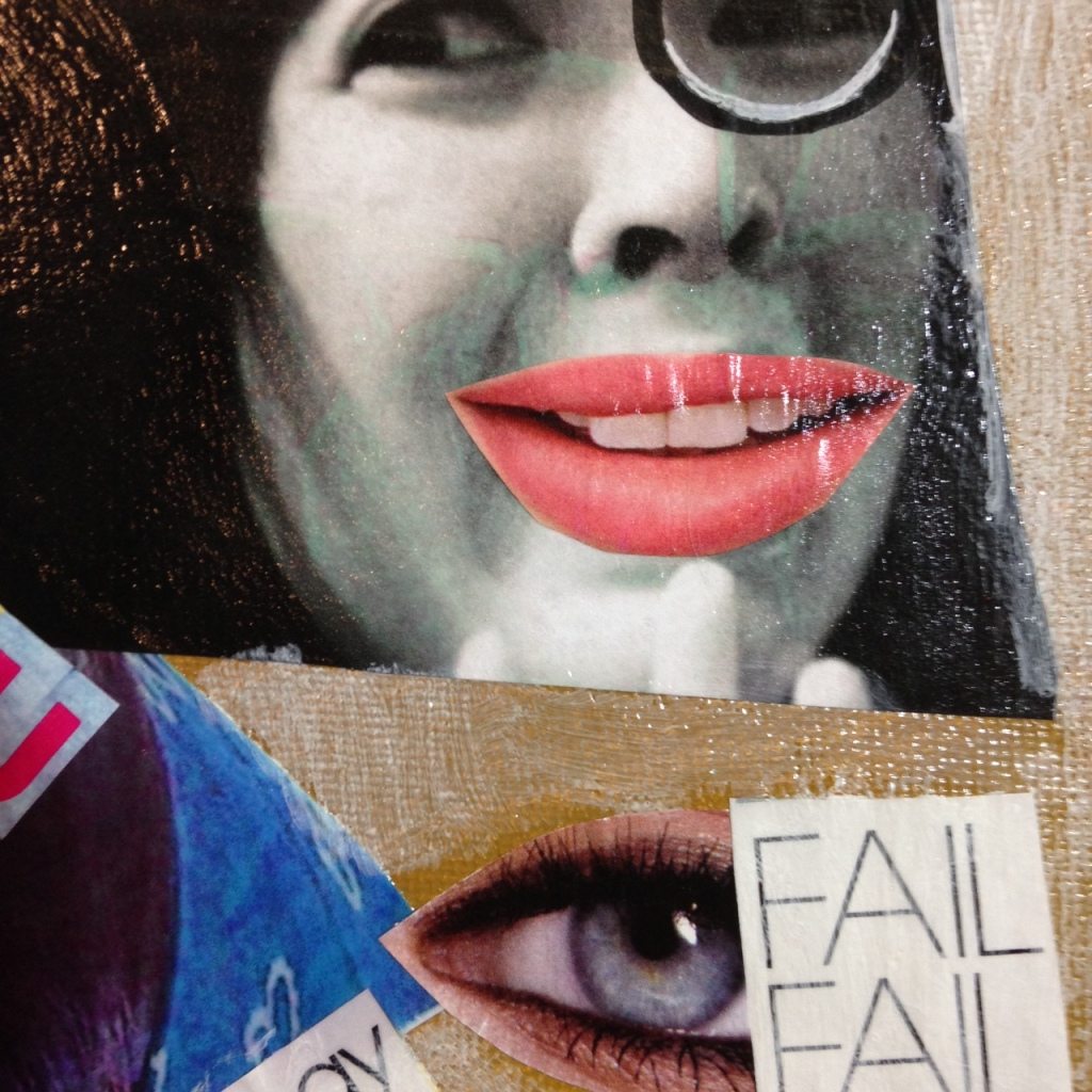 Close-Up 3 Day 100- Tribute to Raoul Hausmann Linda Cleary 2014 Mixed-Media on canvas
