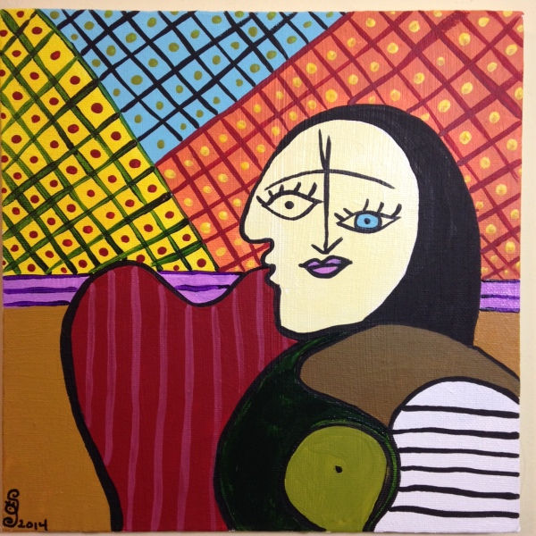 Woman on A Red Chair- Tribute to Pablo Picasso Linda Cleary 2014 Acrylic on Canvas