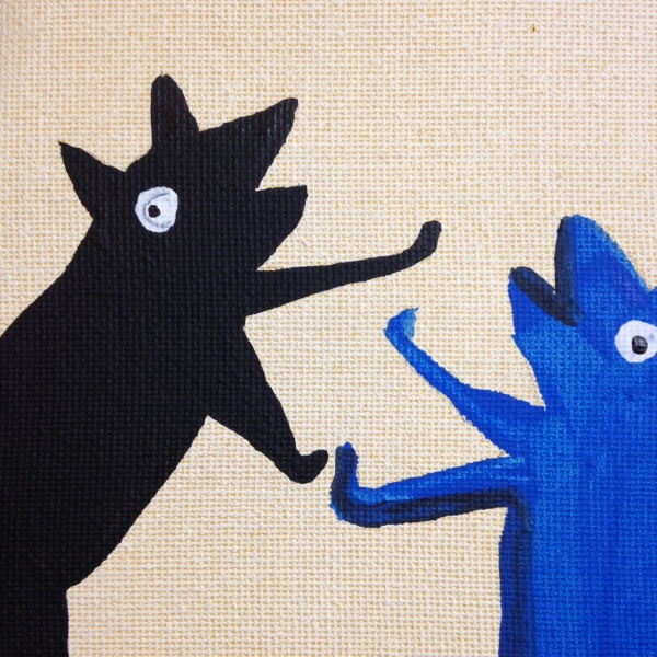 Close-Up 2 Bad Dog!- Tribute to Bill Traylor Linda Cleary 2014 Acrylic on Canvas