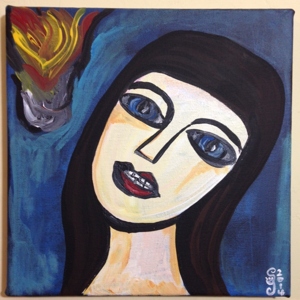 Look into the Flames- Tribute to Georges Rouault Linda Cleary 2014 Acrylic on Canvas