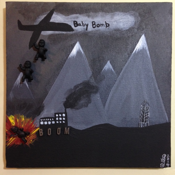Baby Bomb- Tribute to David Lynch Linda Cleary 2014 Acrylic, mixed media on Canvas
