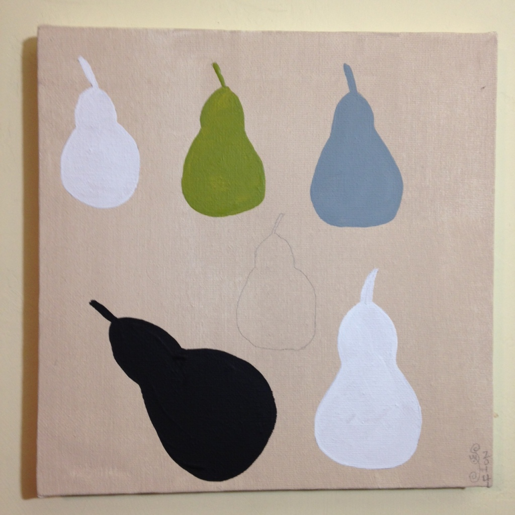 Pears with Green Note- Tribute to William Scott Linda Cleary 2014 Acrylic on Canvas