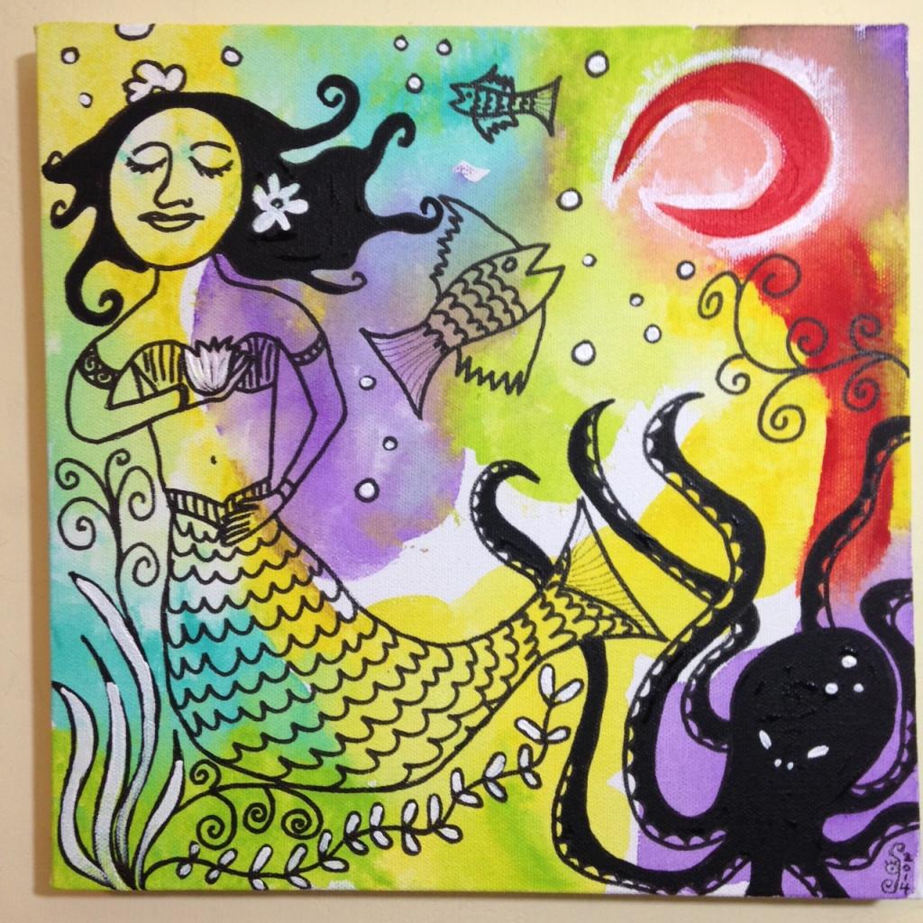 Sirena Luna Roja- Tribute to Clara Ledesma Linda Cleary 2014 Acrylic, Pen & Ink on Canvas