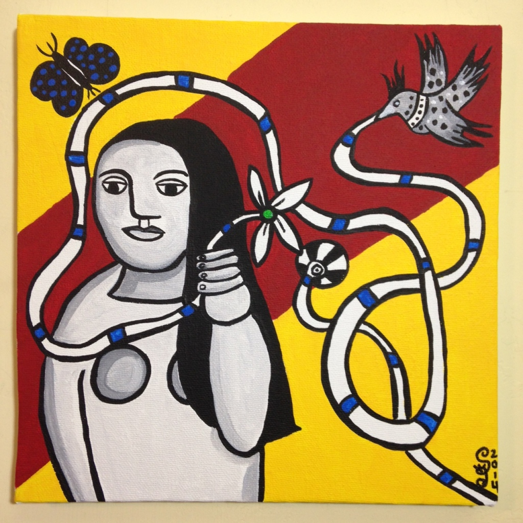 Femme Dans La Nature- Tribute to Fernand Leger Linda Cleary 2014 Acrylic on Canvas