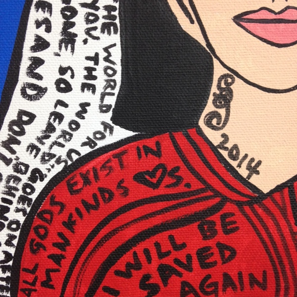 Close-Up 2 So Say I- Tribute to Howard Finster Linda Cleary 2014 Acrylic on Canvas