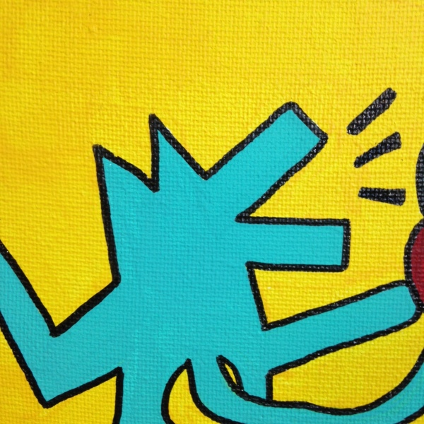 Close-Up 2 Love Hurts (Sometimes)- Tribute to Keith Haring Linda Cleary 2014 Acrylic on Canvas
