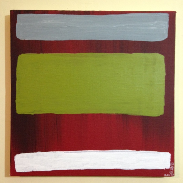 Red, black, gray, olive and white- Tribute to Mark Rothko Linda Cleary 2014 Acrylic on Canvas