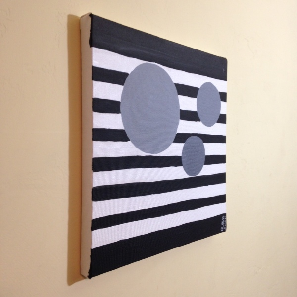 Side-View Gray Areas- Tribute to Bridget Riley Linda Cleary 2014 Acrylic on Canvas