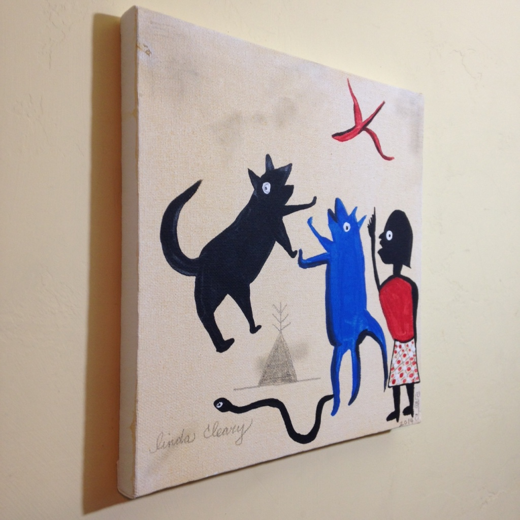 Side-View Bad Dog!- Tribute to Bill Traylor Linda Cleary 2014 Acrylic on Canvas