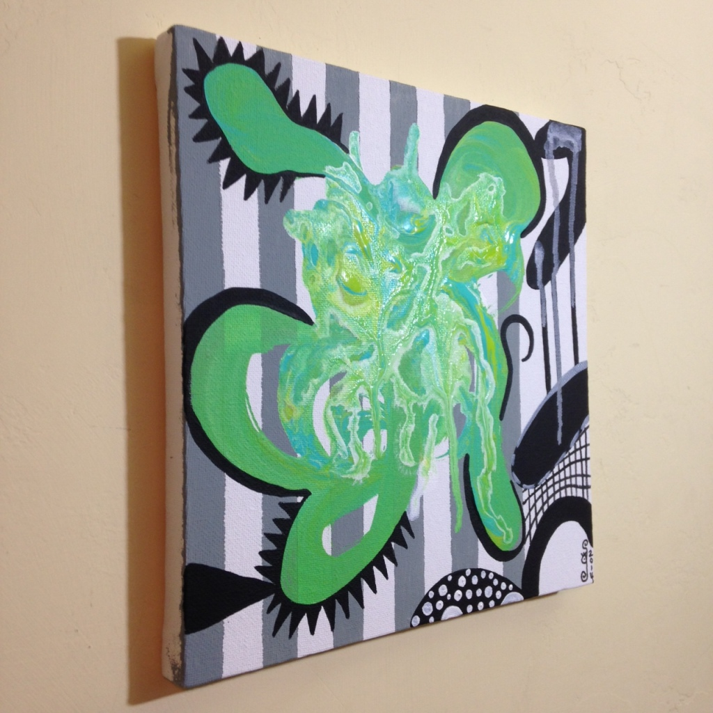 Side-View Green Therapy- Tribute to Charline von Heyl Linda Cleary 2014 Acrylic on Canvas