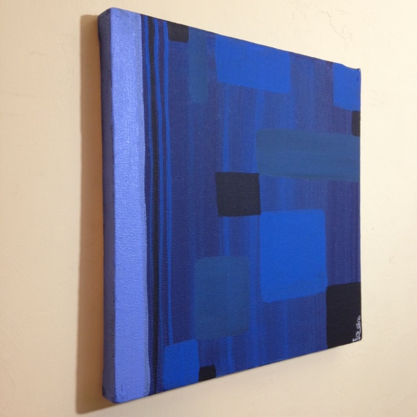Side-View Blue Painting- Tribute to Ad Reinhardt Linda Cleary 2014 Acrylic on Canvas